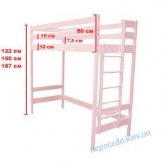 Кровать чердак для девочки розовая (желтая, голубая, салатовая)