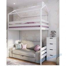 Кровать домик чердак белого цвета 187см
