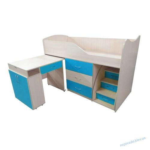 """Кровать стол комод ящики """"Бед-Рум 5"""" голубая"""