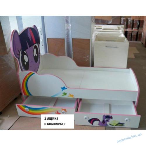"""Кровать детская с бортиком с ящиками """"Литл Пони"""""""