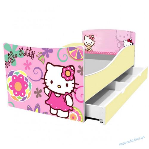 Детская кровать Китти 164см + ящики и бортик