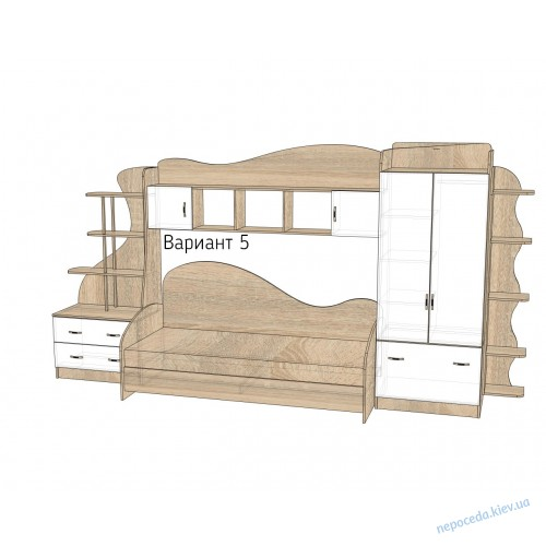 Детская комната Д-2 (цвет любой) кровать с полками
