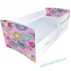 Односпальная детская кровать Сердечки Киндер Кул с защитным бортиком