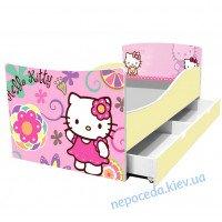 Детская кровать Китти 164см + ящики подкроватные и бортик для девочки