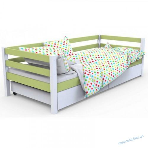 """Кровать детская с бортиком """"Валенсия""""  белый с салатовым деревянная"""