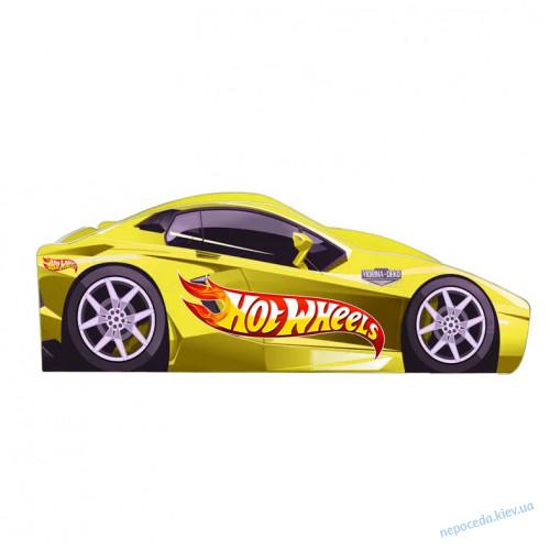 Кровать в виде автомобиля Хот вилс желтая