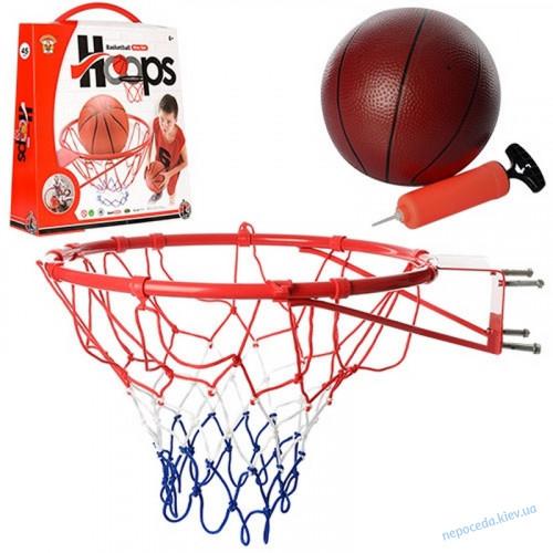 Баскетбольное кольцо с сеткой мячом и насосом