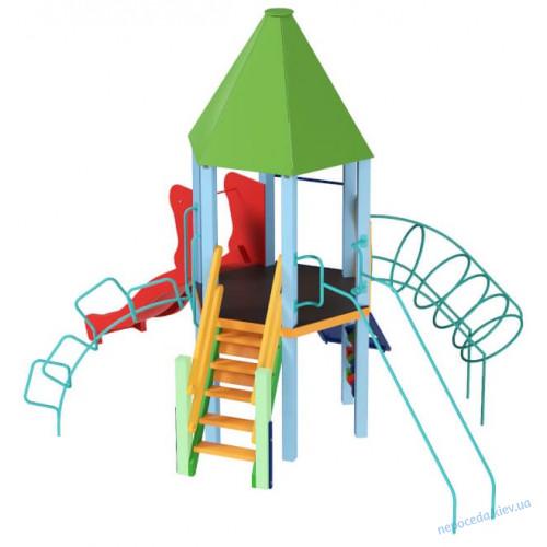 Детский комплекс Башня с пластиковой горкой