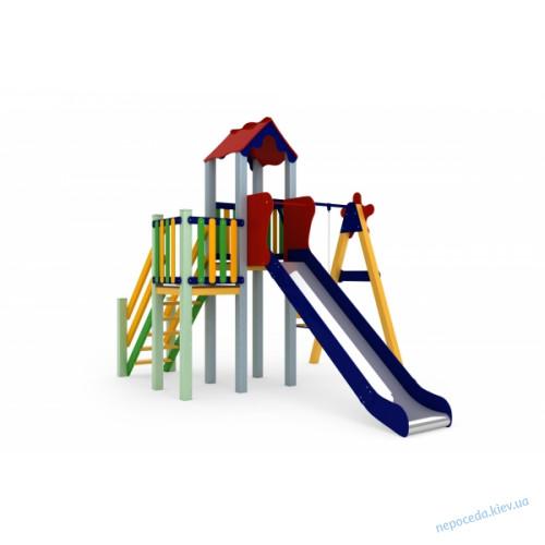 Детская игровая площадка с балконом Праздник, горка 150см высотой