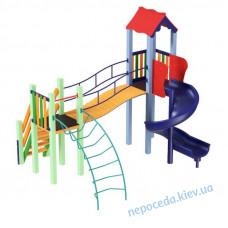 Детский комплекс Луна с пластиковой горкой спираль