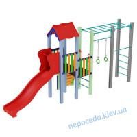 Детский комплекс Котик с пластиковой горкой 1,2 висота