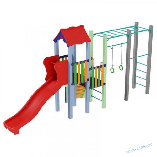 Детский комплекс Котик с пластиковой горкой