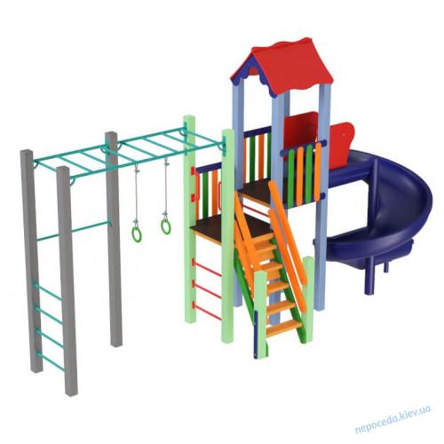 Детский комплекс Котик с пластиковой горкой спираль
