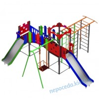 Детский игровой комплекс 3-х секционный с 2 горками Крепость