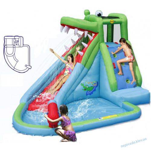 Батут надувной Бассейн Крокодил с водной горкой  Happy hop
