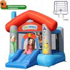 Детский Батут Весёлый домик с горкой