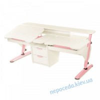 Стол Эргономик для 2 детей белый с розовым из ДСП