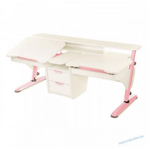 Стол Эргономик для двух детей белый с розовым из ДСП