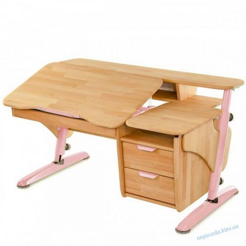 Парта Эргономик деревянная с тумбой бук розовый