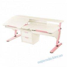 Стіл Ергономік для 2 дітей білий з рожевим з ДСП