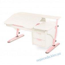 """Письменный стол школьнику """"Эргономик с тумбой"""" (белый+розовый)"""