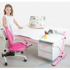 Белый письменный стол с тумбами (мдф) со стулом Ноты для девочки