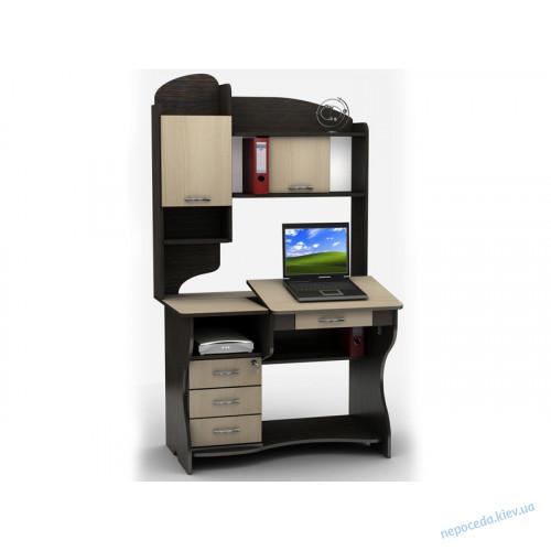 Компьютерный стол с полками и тумбой (регулируется наклон)