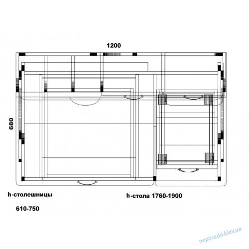 Компьютерный стол надстройкой и ящиками