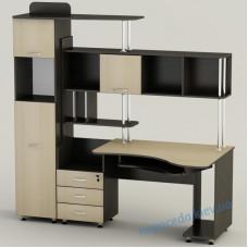 Большой компьютерный стол СК-20 с полками ящиками и шкафом