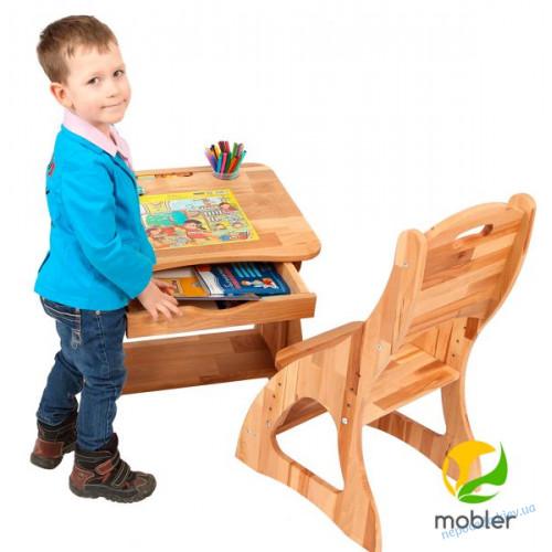 Детская парта растишка Mobler с ящиком, 60 см