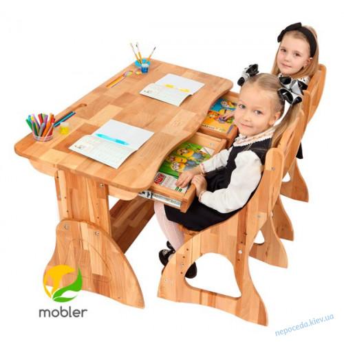 Детская парта стол растишка с 2мя ящиками Mobler, 120 см