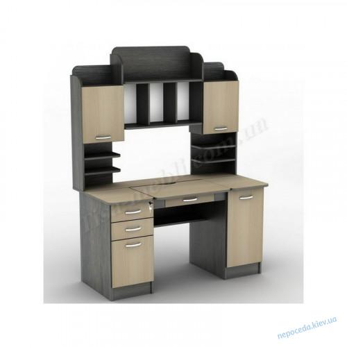 Компьютерный стол с тумбами и полками