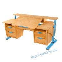 """Детский стол """"Эргономик с 2 тумбами"""" деревянный (синий,серый)"""