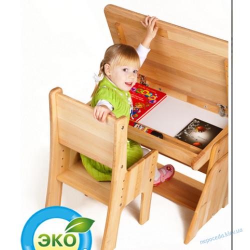 Стол для школьника с пеналом большой + стул
