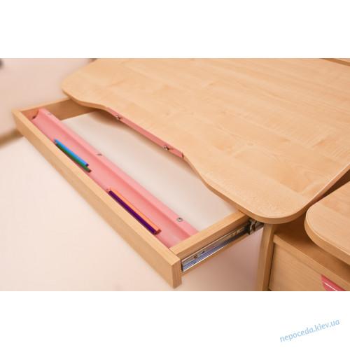 """Письменный стол школьнику """"Эргономик с тумбой"""" (клен+розовый)"""
