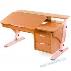 """Письмовий стіл школяреві """"Ергономік з тумбою"""" (вільха + рожевий)"""