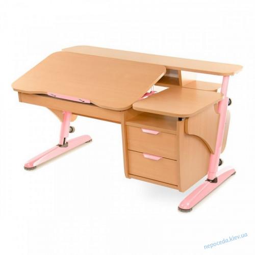 Парта Эргономик с тумбой бук розовый из ДСП