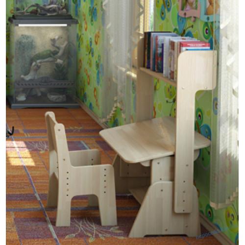 Парта с пеналом, полочками-надстройками (бук,без стула)