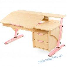 """Письмовий стіл школяреві """"Ергономік з тумбою"""" (клен + рожевий)"""