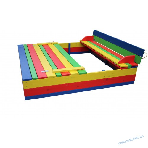 Детский комплект - песочница с крышкой и столик с лавочками