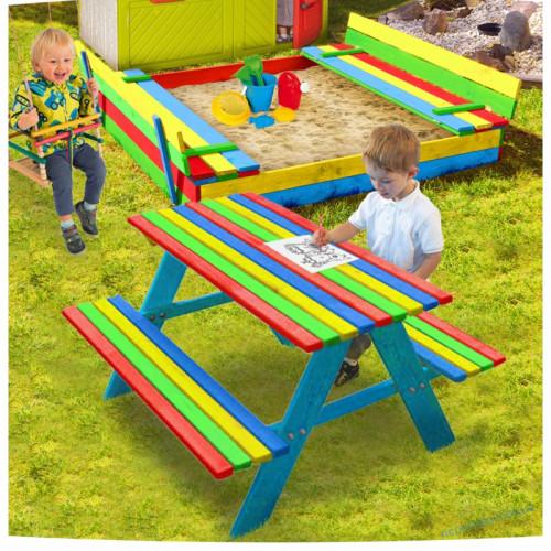 Песочница 150см с крышкой + стол с лавочками цветной