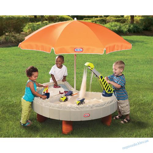 """Детская песочница """"Строительная площадка"""" с зонтом"""
