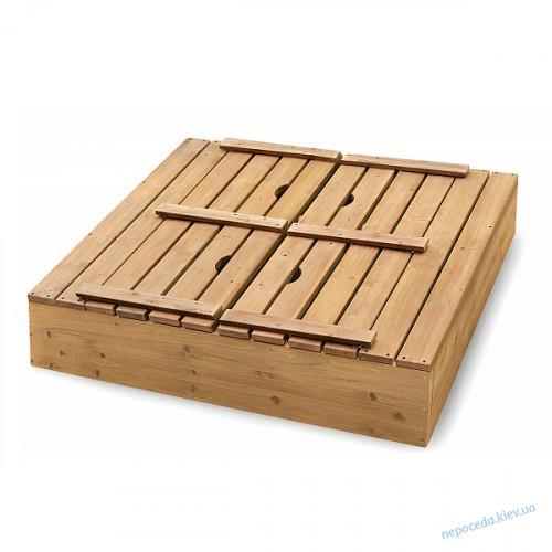 Детская песочница из дерева с крышкой 100х100см (малая)