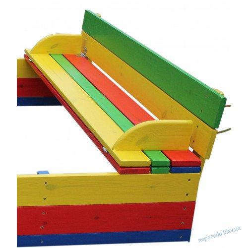 Песочница с крышкой цветная 125х125 см