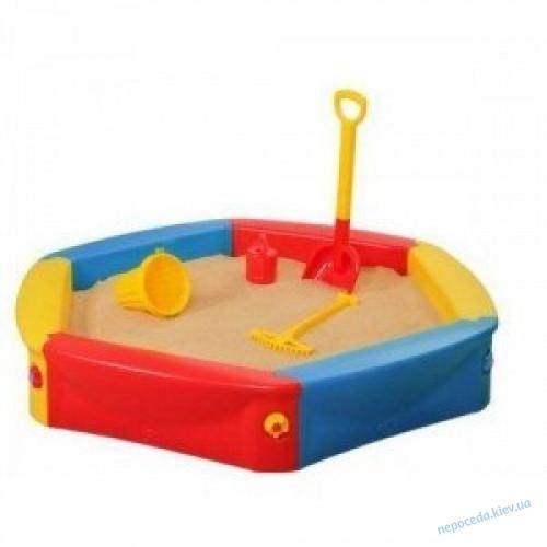 Детская пластиковая песочница с чехлом 120см