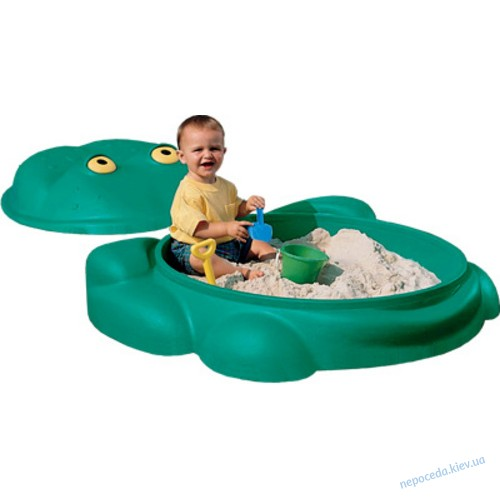 Большая детская песочница Лягушонок с крышкой