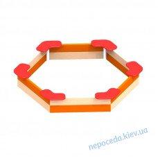 Песочница шестиугольная с угловыми сиденьями