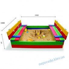 Детская песочница с крышкой 29 размер 100х100см