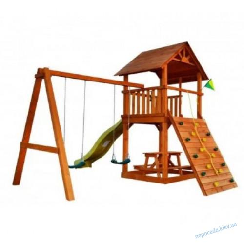 """Игровой комплекс для улицы """"Забава-2"""" с деревянной крышей"""