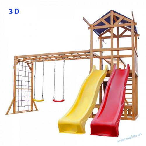 """Детская площадка 3D """"Восемь в одном"""" с 2 горками"""